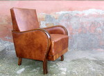 Art Deco Leather Armchair.