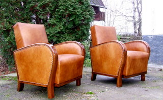 Art Deco Leather Armchairs, Club Chairs