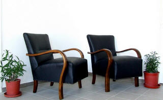 Pair of Art Deco Leather Armchairs. £1495