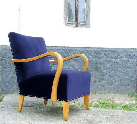 Art Deco blue velvet armchair.