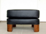 Art Deco leather footstool