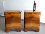 Art Deco Walnut Nightstands, Bedside Cabinets.