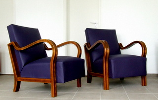 Pair of Art Deco Leather Armchairs.