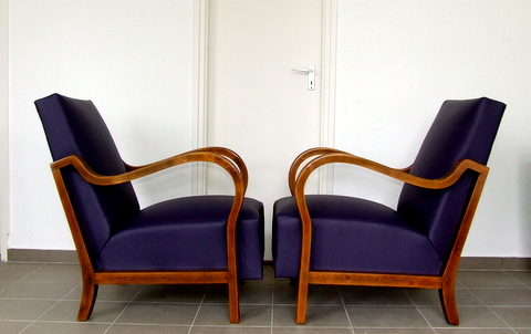 Art Deco Leather club chairs.