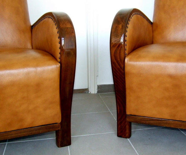 Art Deco leather furniture.