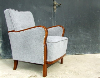 Art Deco velvet armchair.