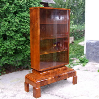 Art Deco burl walnut bookcase.