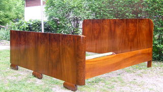 Art Deco double bed. Sleigh bed.