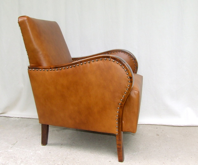 Art Deco Leather Armchair.