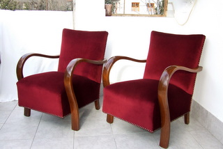 Pair of Art Deco Armchairs, Cocktail Chairs.