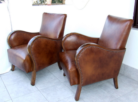 Matching Pair Of Art Deco Leather Armchairs Club Chairs