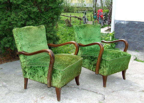 Pair of Art Deco Club Chairs, Armchairs.