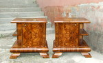 Pair of Art Deco Walnut Bedside Cabinets.
