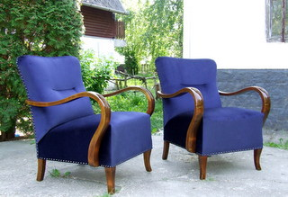 Art Deco Velvet Upholstered Armchairs.