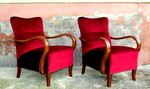 Art Deco velvet armchairs.