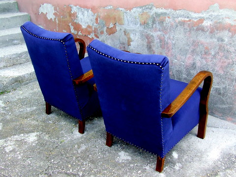 Art Deco Blue Velvet Armchairs.