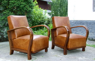 Art Deco Leather Armchairs. £1495.