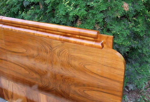 Art Deco walnut headboard.