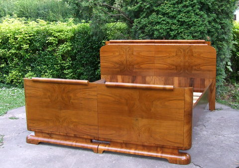 Art Deco sleigh bed.