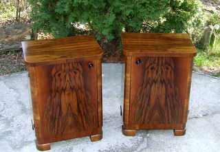 Superb pair of Art Deco Walnut Bedside Cabinets. Click here to see more photos and the price.