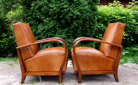 Pair Art Deco leather armchairs.