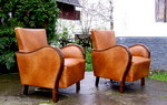 Leather Upholstered Art Deco Club Chairs.