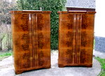 Pair of Art Deco walnut double wardrobes.