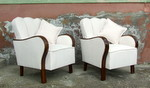 Pair of Art Deco Cloud Back Armchairs.