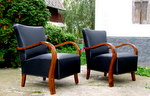 Black leather, Art Deco armchairs, club chairs.