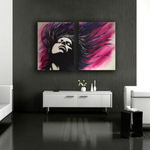 Original Diptych Oil Painting on Floating Canvases